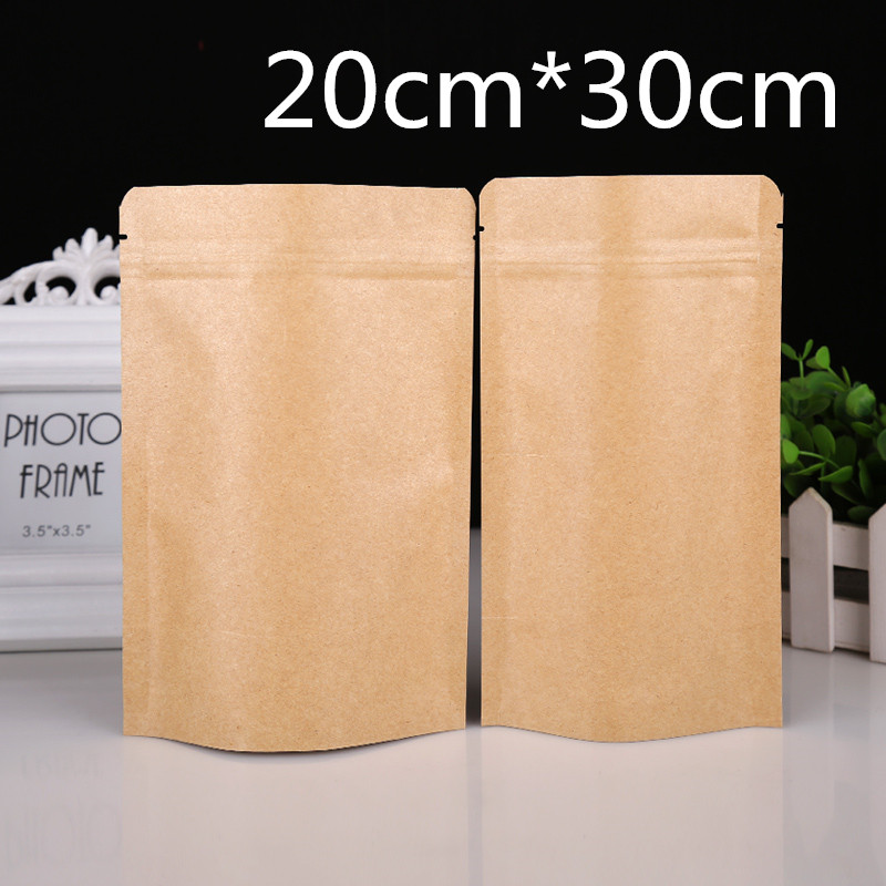 7.9x11.8 (20x30cm) 20Pcs/Lot Resealable Kraft Paper Aluminum Foil Coffee Powder Bean Storage Bags Valve Zipper Doypack Pouch