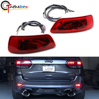Gtinthebox Complete Set LED Rear Fog Light Kit w/LED Bulbs, Rear Foglamps, Wirings For 2011 up Jeep Grand Cherokee WK2,Red 12V
