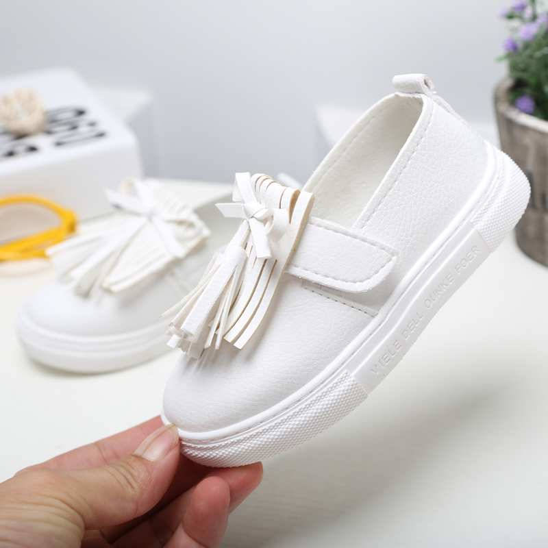 ULKNN 2019 Fringe Flat Leather Children's Shoes Princess Tassel Style Flat Shoes For Girls White Cute Kids Boat Shoe Baby Casual