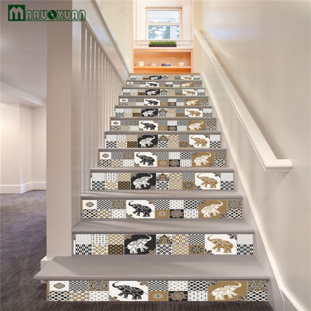 Maruoxuan 6pcs / Set New Retro Moroccan Style Staircase Stickers Corridor Stairs  Stairs Decorated To Paste