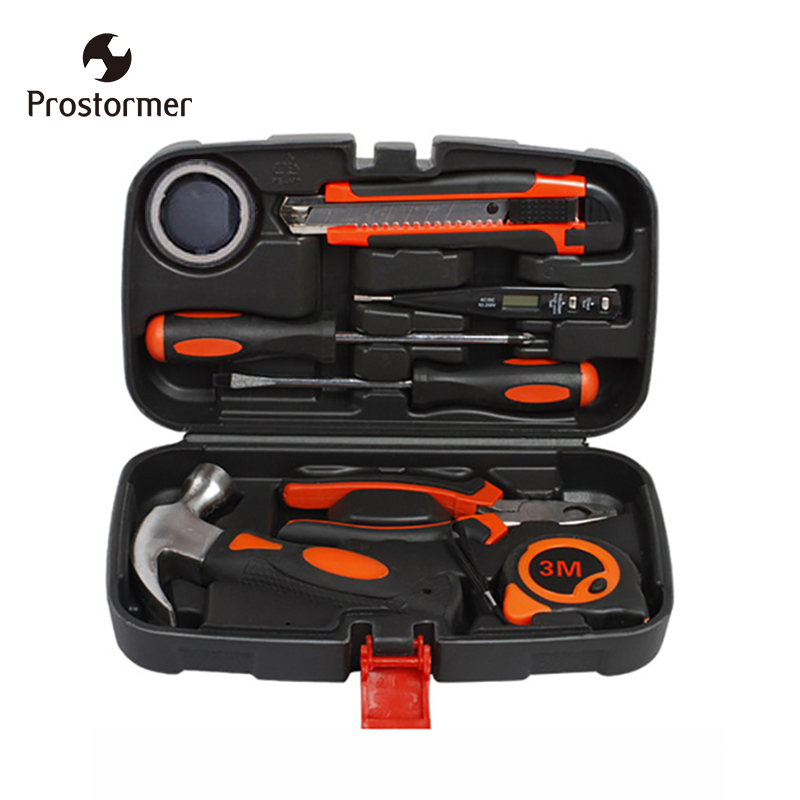 Prostormer 9 pcs Toolbox Hardware Handheld Multi-Function Home Hand Tool Set Electric Wood Repair multi function oiler sauce wine bottle pourer plugs set 8 pcs
