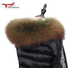 Настоящий натуральный енотовый меховой воротник, Женская бандана, женский шарф, модное пальто, свитер, пальто с капюшоном, женские шейные шарфы