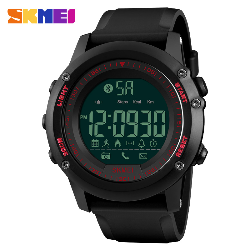 SKMEI Smart Watch Top Luxury Fashion Digital Men s Watches Waterproof  Pedometer Calorie Remote Camera Bluetooth Sports Watches-in Digital Watches  from ... 98d17a22b1c0a