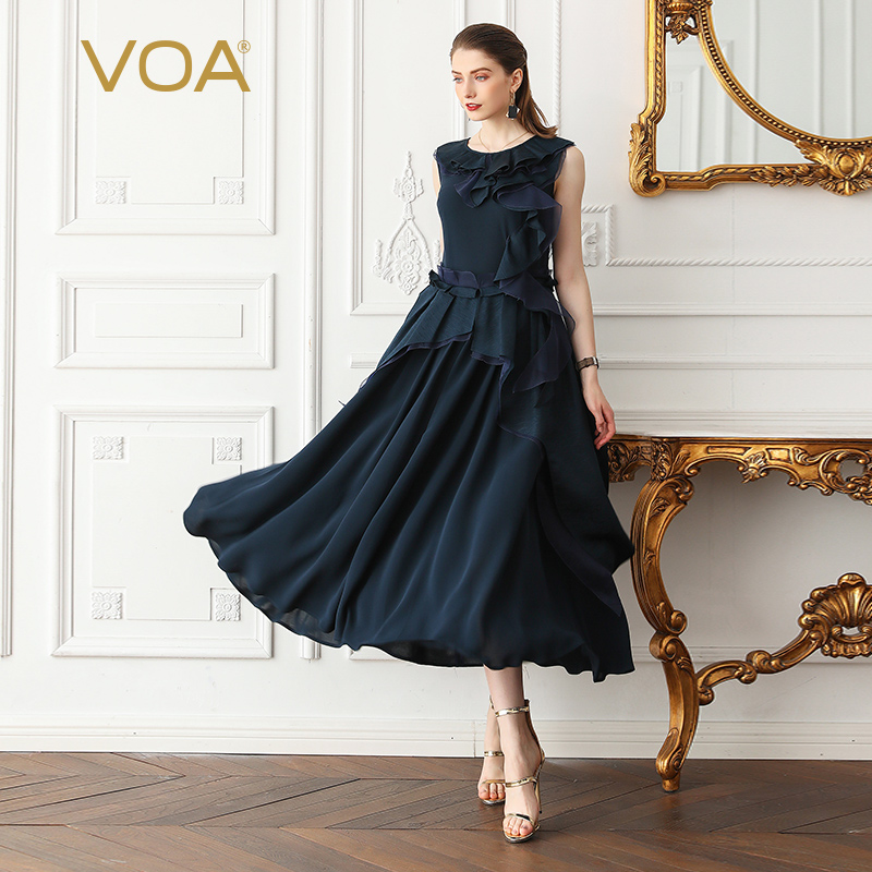 VOA Heavy soie plissée robe femmes Maxi longues robes de soirée été grande taille 5XL taille haute bleu marine à volants mince sans manches A681