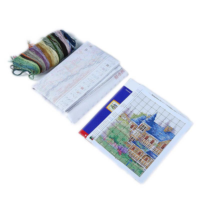 Kit point de croix brodé ville européenne   Bricolage, point de croix imprimé 11CT 14CT, Kits de point de croix comptés DMC pour décoration de maison