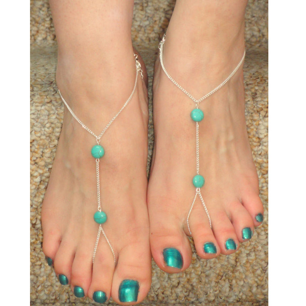 1 PC Silver Tone Summer Style Turquoise Chain Ankle Bracelet Anklet CA025