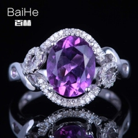 Baihe 925 2.5CT certificado oval cut Flawless 100% genuino amatista compromiso mujeres moda elegante anillo único