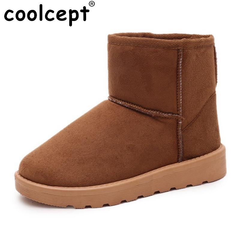 Coolcept Women Half Short Snow Boots Thick Fur Half Short Flats Boots Women Warm Fur Shoes For Cold Winter Footwear Size 36-40