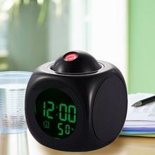 Multifunction Vibe LCD Talking Projection Alarm Clock Time Temp Display Reveil Projection Relojes Despertadores clocks