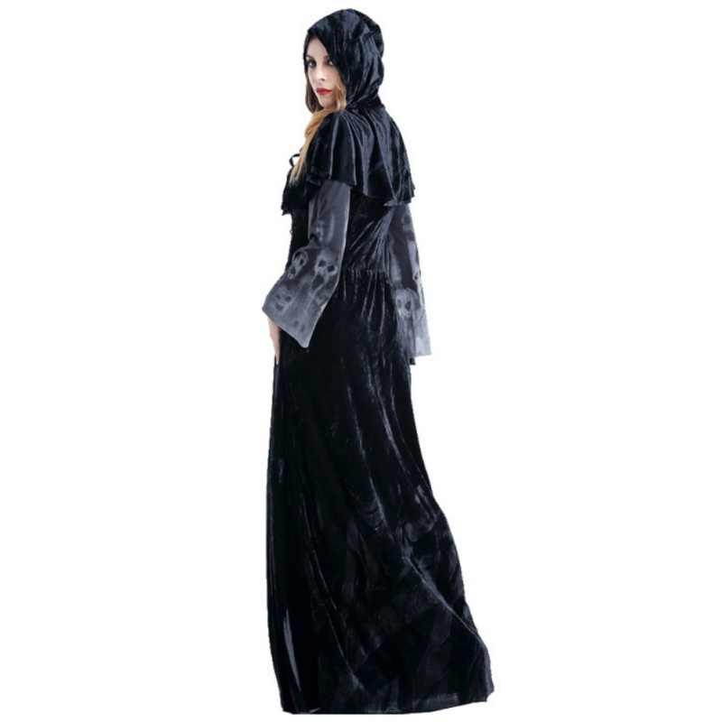 1bfaec51e68 ... Creepy Ghost Print Dress Women s Halloween Evil Death Vampire Witch  Demon Costumes Long Sleeve Cosplay Dresses ...