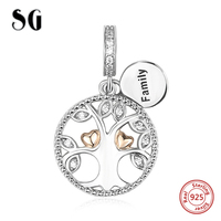 Hot Sale Silver 925 Original Family Tree Of Life Beads With CZ Fit Authentic Pandora Bracelet