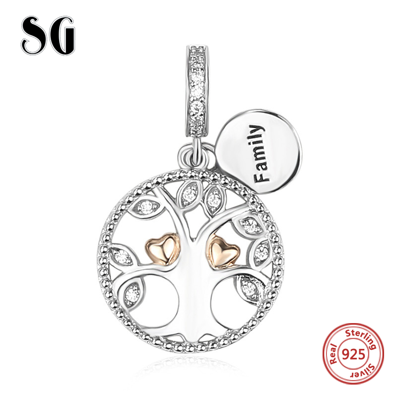 Hot Sale Silver 925 Original family tree of life Beads with CZ Fit Authentic pandora Bracelet charm Pendant Jewelry Women Gifts