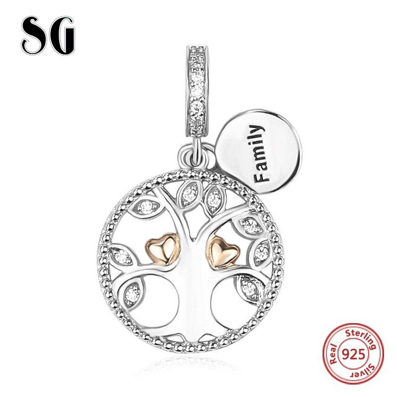 Venta caliente de plata 925 Original de la familia Árbol de la vida con cuentas CZ Fit pulsera auténtica de pandora colgante del encanto de la joyería de las mujeres regalos