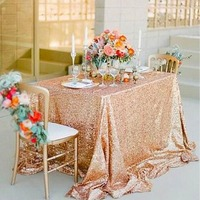 Sparkling Sequin Tablecloth Wedding Party Gold Silver Champagne Decoration Table Cover for home garden bachelorette girl