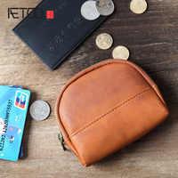 336de1f07fe5 BJYL оригинальный ручной монет маленькая легкая сумка кожаный бумажник  мужчины молния кошелек бумажник короткие кожаные клип