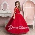 2017 Nueva Niña de las Flores Vestidos de Rojo vestido de Bola Que Rebordea Cinturón Medias Mangas Del O-cuello Formal de la Comunión Vestidos De Primera Comunion