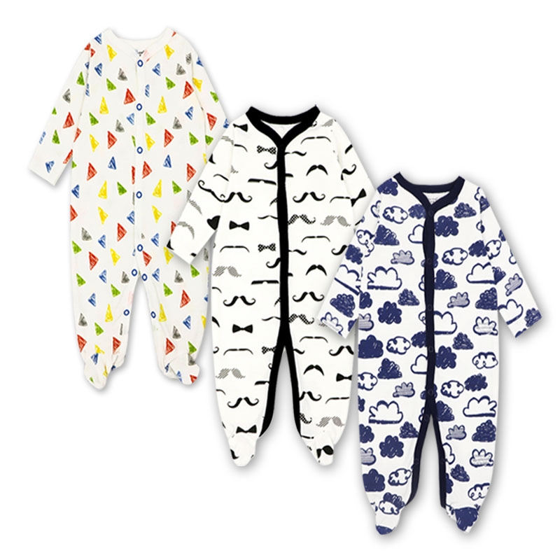 Newborn Toddler Infant Baby Boy Girl Romper Jumpsuit Long Sleeve Cotton Outfits Cartoon Print 3 pieces set 0-12 Months Clothes