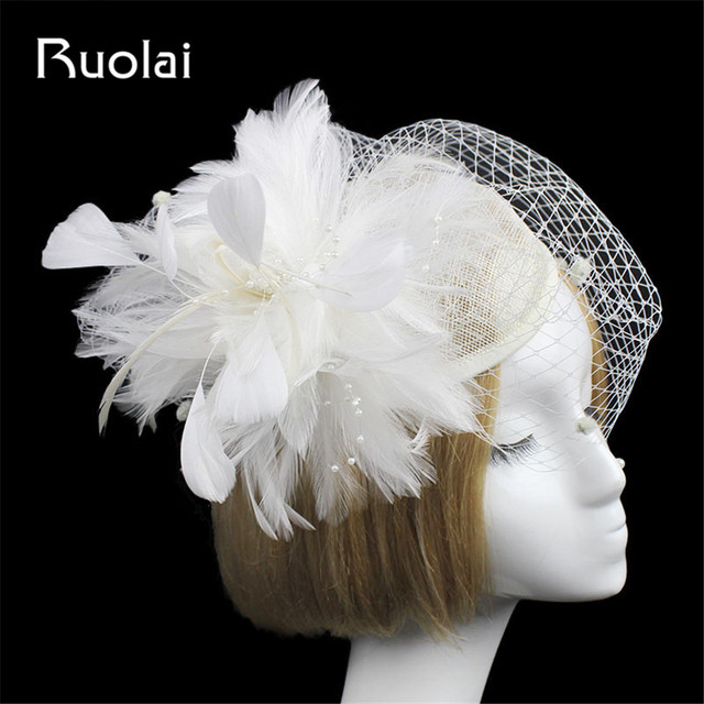 Elegant Fashion Wedding Veil Feather Tulle Bird Cage Wedding Hat ...