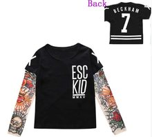 2018 Children Boys T-shirt Cotton Long Sleeve Baby Girl Tops No Photos Please Novelty Tattoo Sleeves Tops T-shirts(China)