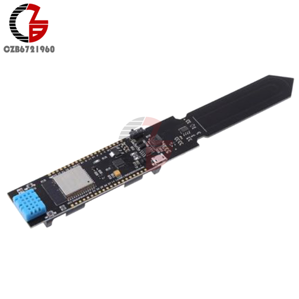 ESP32 REV1 WiFi & Bluetooth DHT11 Soil Temperature and Humidity Sensor Detection Module With 18650 Lithium Battery Holder fc 28 j soil humidity detection sensor module blue