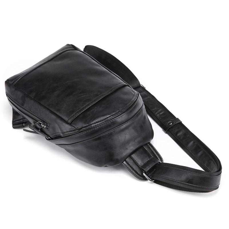Viaggio Della Nuovi Casual Fahion Bag Elaborazione Pacchetto Di Black Uomini Crossbody Petto Sling Dell'unità Cuoio Spalla qxzOPqr