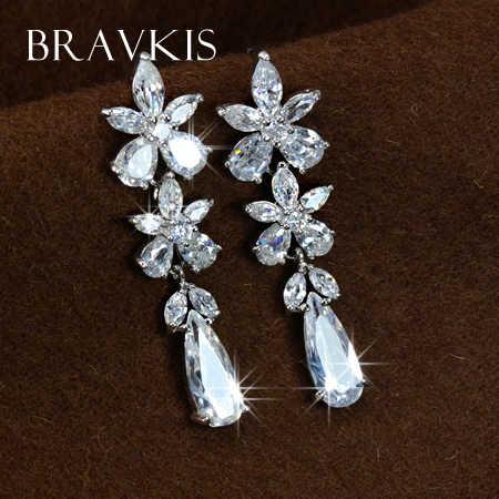 BRAVEKISS ดอกไม้คริสตัลที่สวยงาม water drop ต่างหู dangle สำหรับผู้หญิง zircon ที่รอดำเนินการ eardrops brincos pendientes moda BUE0024