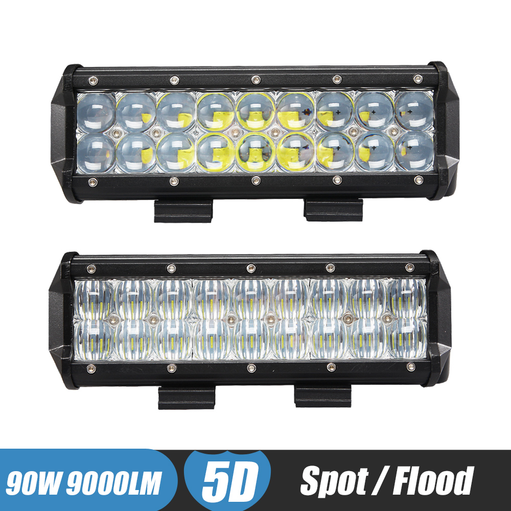 9'' 90W 5D LED Work Light Bar Spot Flood Auxiliary Headlight 12v 24v OffRoad 4WD 4x4 Tractor UTE Truck SUV ATV Led Driving Lamp рубашка anerkjendt anerkjendt an030emlga85