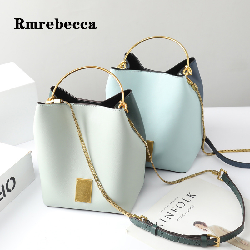 Vintage metal handle bags for women cute bucket handbags cow leather panelled chains shopping bag fashion ladies hand bags saleVintage metal handle bags for women cute bucket handbags cow leather panelled chains shopping bag fashion ladies hand bags sale