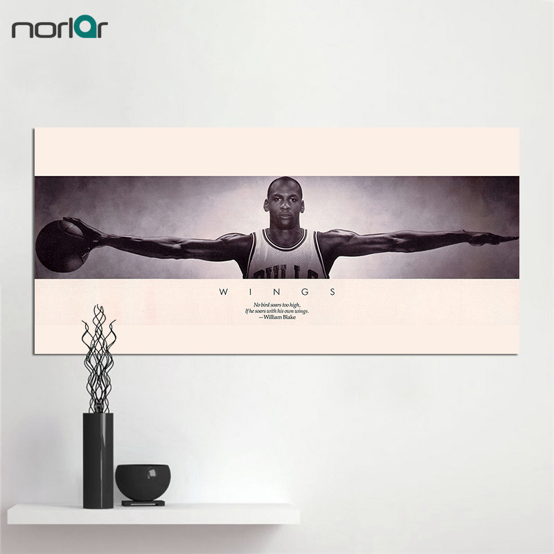 Canvas Print Michael Jordan Wings Basketball Sports Poster Vintage Old Style Decorative Paintings Print Wall Art Decor No Frame