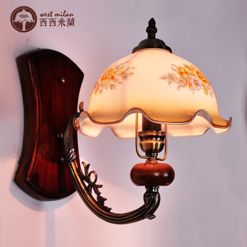 ФОТО Fashion bedroom wall lamp rustic vintage solid wood bedside lamp balcony american style wall lights