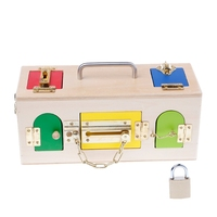Montessori Colorful Lock Box Kids Children Educational Preschool Training Toys W15