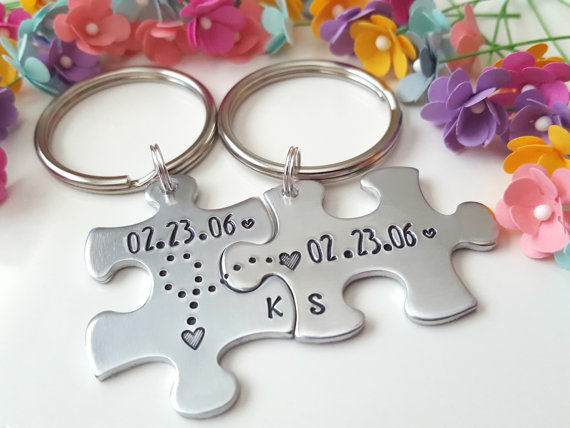 9b66e17aa093b Custom Personalized -Any Letter Name Or Date Couple Fur Keychain Family  Tree Name Keychains
