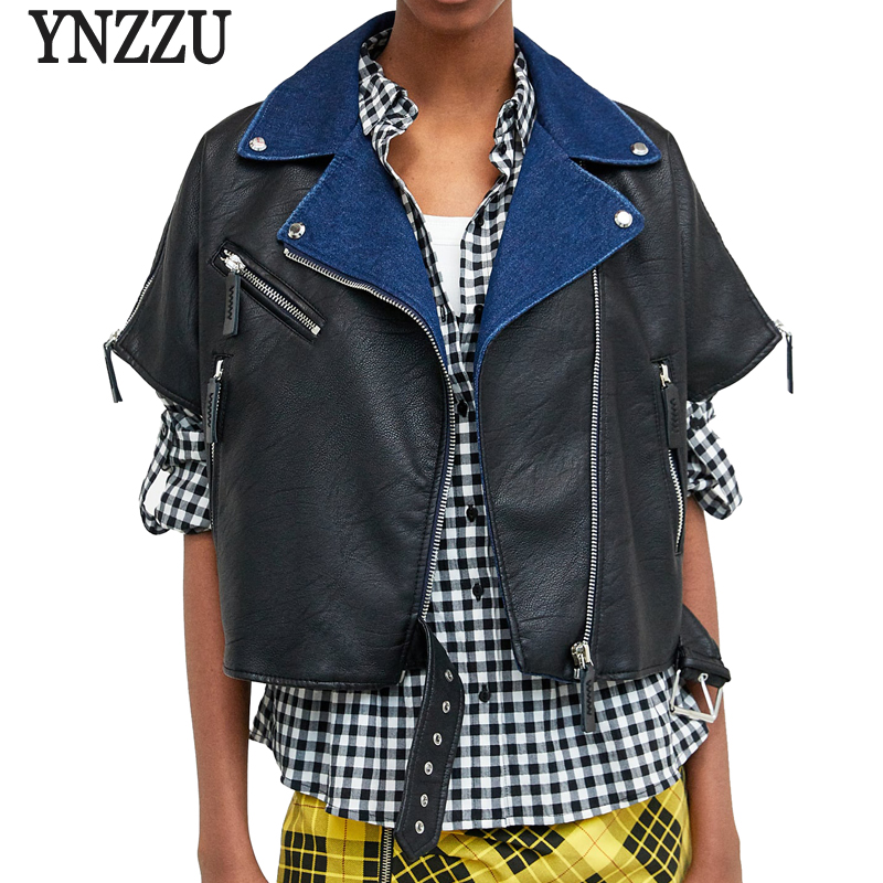 YNZZU New Design 2018 Autumn Denim Patchwork Women   Leather   Jacket Coat Chic Short Sleeve Loose PU Female Jacket Streetwear YO604