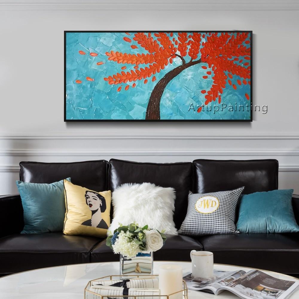 Platno Slikanje paleta nož 3D tekstura akril Cvet zlato drevo Zid - Dekor za dom - Fotografija 4