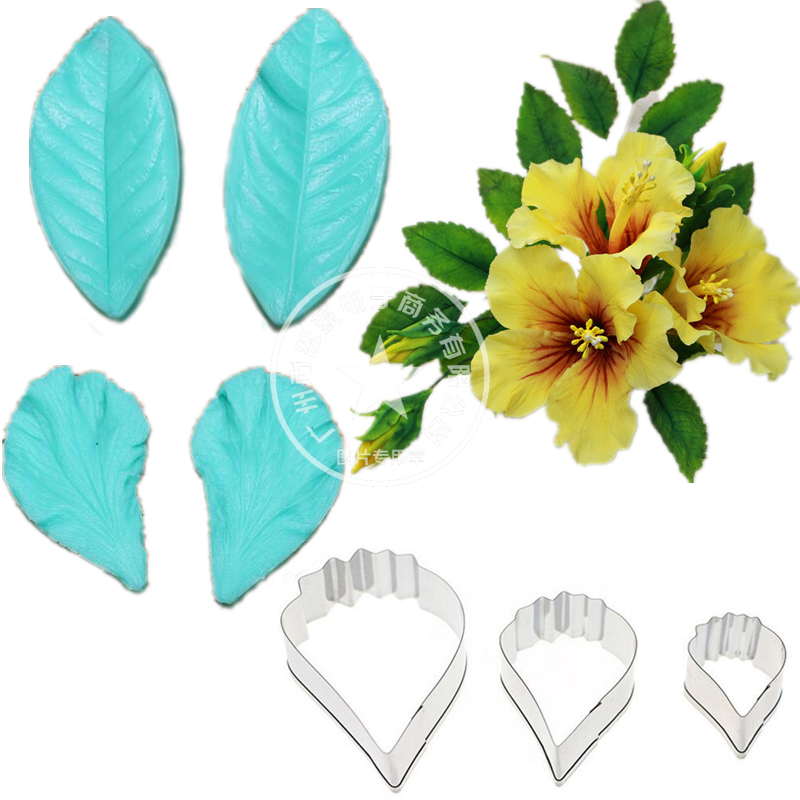 Poppy Gumpaste Hibiscus Petal Silicone Veiner & Leafs Flower Cutter Fondant Sugarcraft Stainless Steel Cake Decorating Moulds