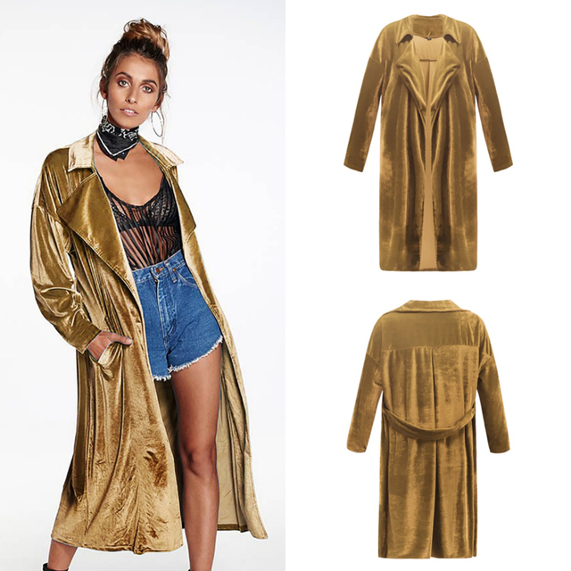 Autumn Women Sashes Pockets Long Velvet Cardigan Solid Turn-down Collar Outwear Belt Coats  Female Long Trench Pull Femme