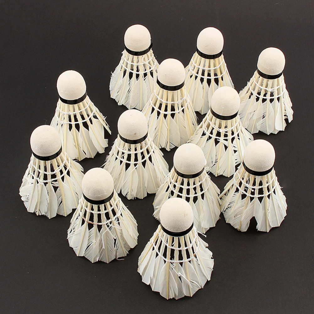 Hot Sale 12pcs/lot Badminton Shuttlecocks Goose Feather Shuttlecock Badminton Balls Outdoor Sports Badminton Accessories(China)