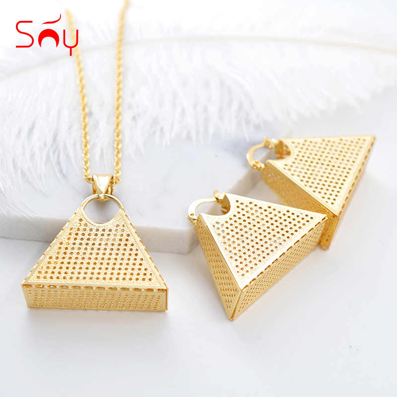 Sunny Jewelry Fashion Big Earrings Pendant Necklace Jewelry Set Women's Pyramid Triangle Lock For Party Wedding Daily Wear Gift