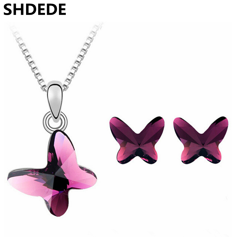 цена на SHDEDE Fashion Jewelry Sets Crystal from Swarovski Women High Quality Butterfly Pendant Necklace Chain Stud Earrings 4116