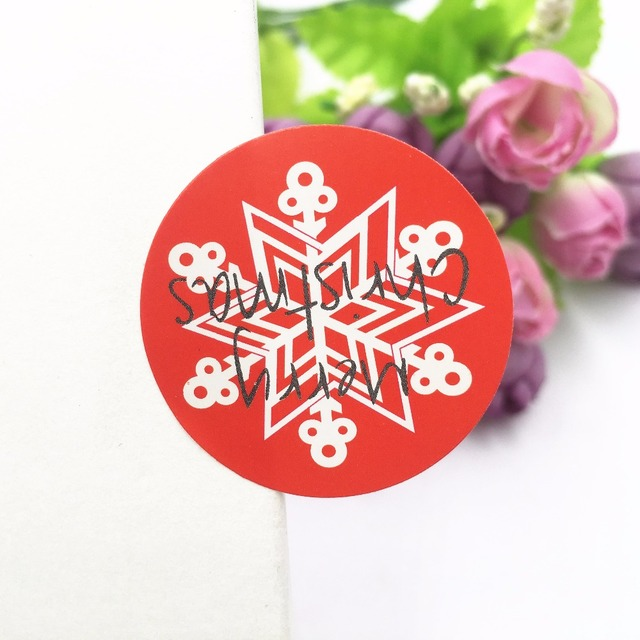 35cm round white snowflake stickers diy merry christmas gift packing labels gift boxbags