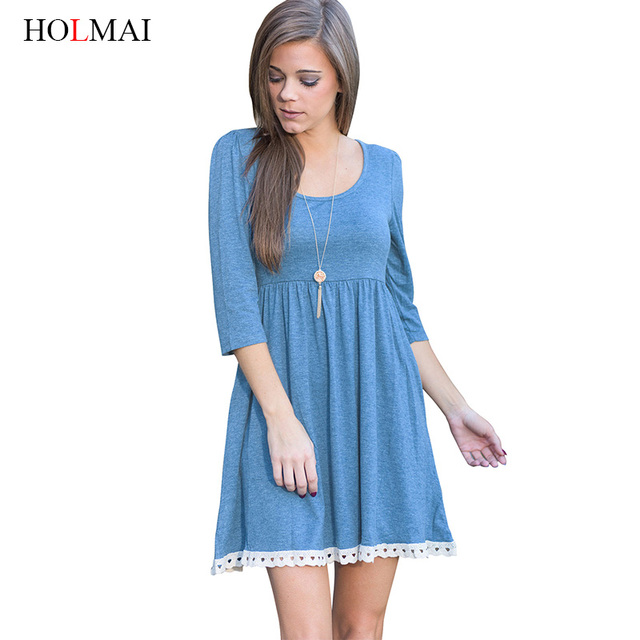 06c1459c2829 HOLMAI Spring Empire Waist Short Fringe Dress for Women Pink Blue Casual  Occasion Slim Pleated Sheer Dresses Plus Size Clothing
