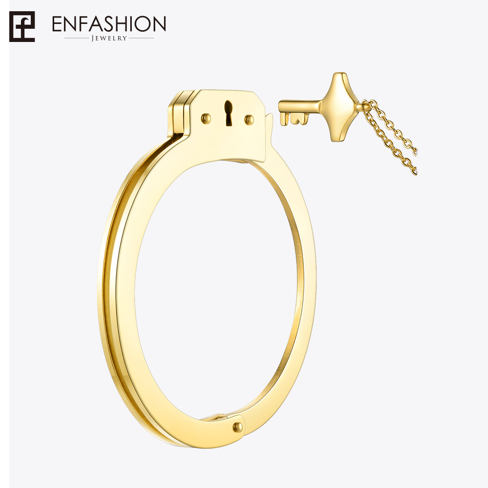 Enfashion Handcuffs Cuff Bracelet Manchette Gold color Stainless Steel Bangle Bracelet For Women Bracelets Bangles BD172003 delicate solid color glazed t shaped cuff bracelet for women