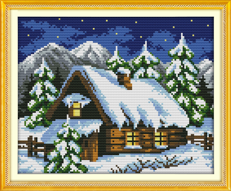28cm X 24cm NKF Cross Stitch Kit 14CT Counted Winter forest