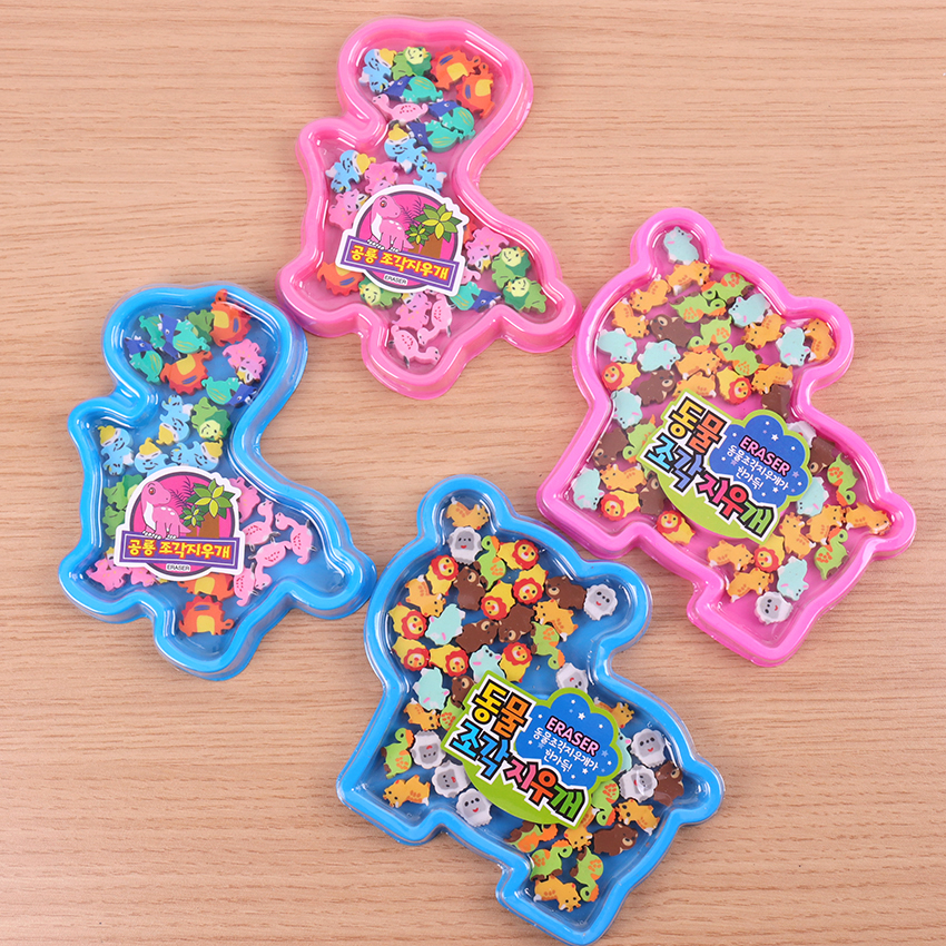 1 Box Cute Kawaii Animal Rubber Erasers Office Learn Pencil Eraser For Kids Gift Creative Korean Stationery Novelty Item
