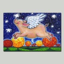 Mintura Art Hand Painted Acrylic Canvas Oil Paintings Pig Flying in The Night Sky Art Pictures Room Decor Animal Paint No Framed(China)