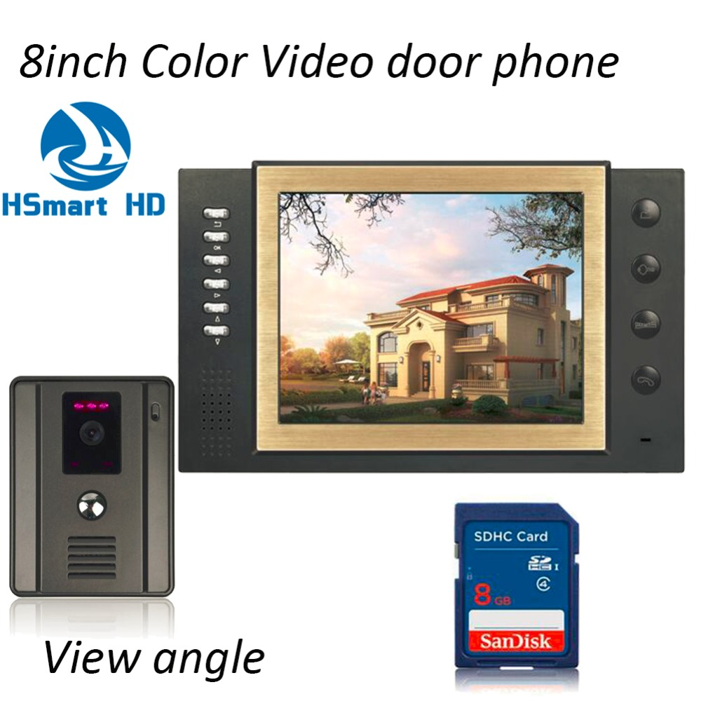 8 INCH TFT LCD Color Wired Video Door Phone 8GB Card Video Record Doorbell Intercom System IR Night Vision Wide Angle 2.5mm Lens homefong villa wired night visual color video door phone doorbell intercom system 4 inch tft lcd monitor 800tvl camera handfree