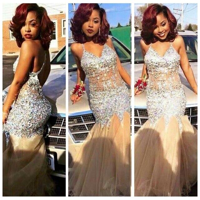6e8b933d812f 2017 New Champagne Long Mermaid Bling Rhinestones Mermaid Black Girls Prom  Dresses Sexy Illusion Bodice Open Back Teens Prom