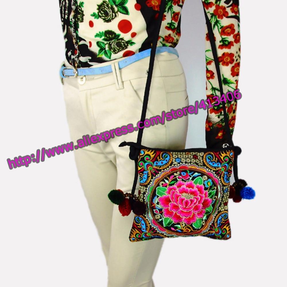 Hmong Tribal Etnik Tay Hint Boho omuz çantası messenger nakış pom - Çanta - Fotoğraf 6