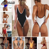 QI DIAN Brand Solid One Piece Swimsuit Swimwear Women Sexy Push Up Bodysuit Swimming Bathing Suit