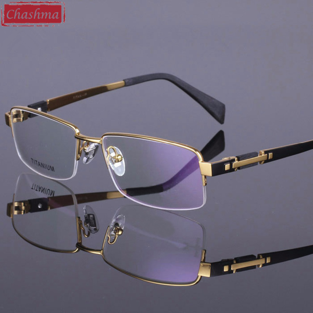 Chashma Pure Titanium Eye Glasses Half Rim Gentlemen Prescription Marco óptico de alta calidad para gafas